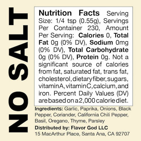 No Salt Flavor God by Flavour God Functional Food Seasoning at Supplement Superstore Canada