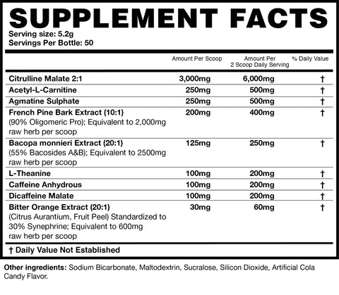 Magnum Nutraceuticals PreFo Pre Workout Nutrition Facts