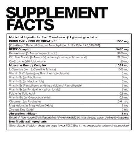 Purple K Reps by Fusion Bodybuilding Muscle Kre Alkalyn PH Buffered Creatine Pre Workout Stimulant Free at Supplement Superstore