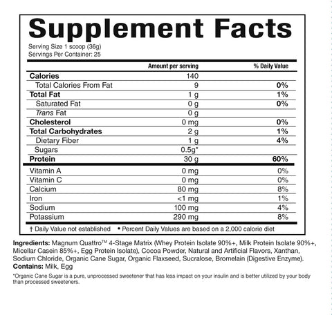 Magnum Nutraceuticals Quattro Nutrition Facts