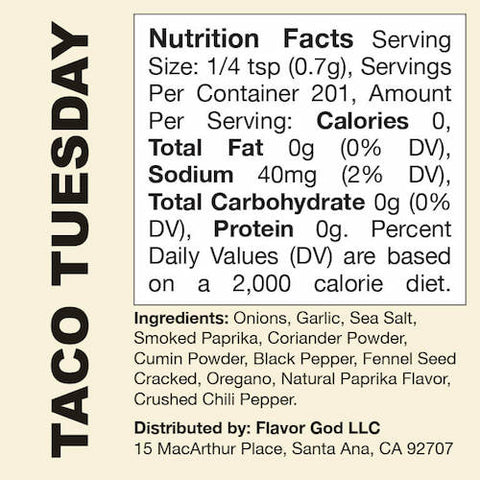 Taco Tuesday Flavor God by Flavour God Functional Food Seasoning at Supplement Superstore