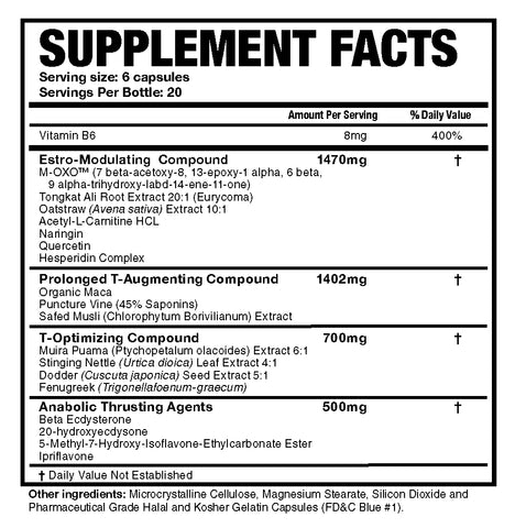 Magnum Nutraceuticals Thrust Hormone Support Testosterone Booster Nutrition Facts at Supplement Superstore Canada
