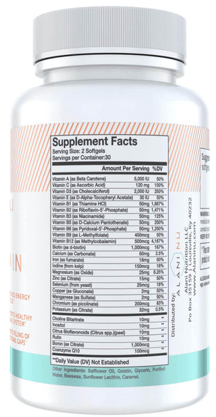 Alani Nu Multi-Vitamin Nutrition Facts at Supplement Superstore Canada