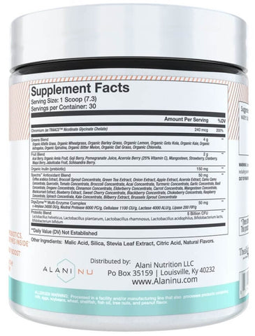 Alani Nu Super Greens Nutrition Facts at Supplement Superstore Canada