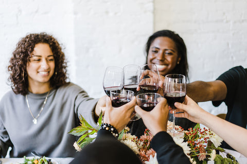 Friends drinking wine and doing cheers.