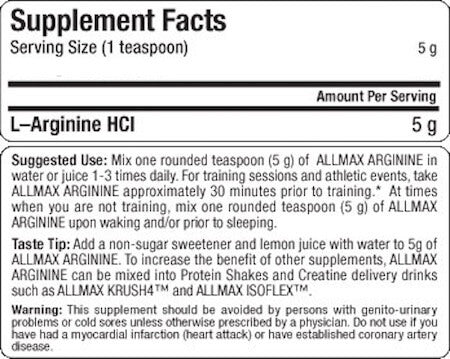 Allmax Arginine HCL Nutrition Facts at Supplement Superstore Canada