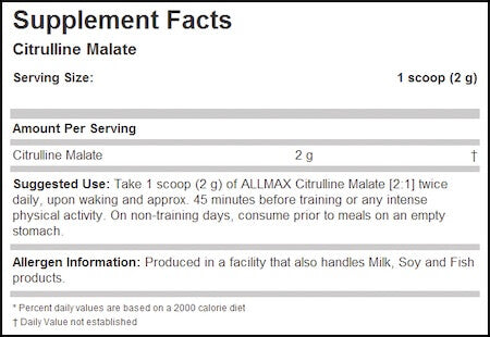 Allmax Citrulline Malate Nutrition Facts at Supplement Superstore Canada