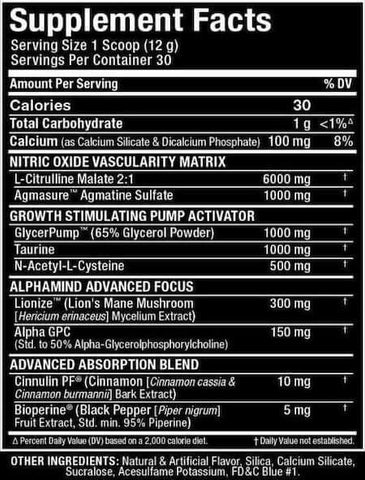 Allmax Impact Pump Nutrition Facts at Supplement Superstore Canada
