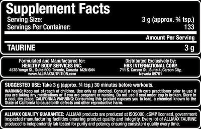 Allmax Taurine Nutrition Facts at Supplement Superstore Canada