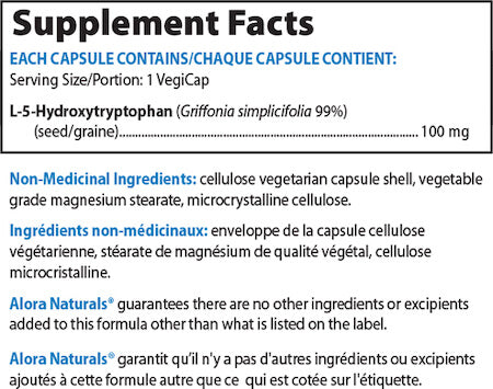 Alora Naturals 5-HTP Nutrition Facts at Supplement Superstore Canada