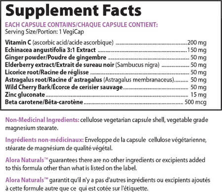 Alora Naturals Cold & Flu Relief Nutrition Facts at Supplement Superstore Canada