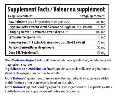 Alora Naturals Prost-First Nutrition Facts at Supplement Superstore Canada