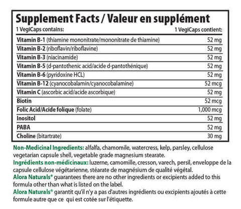 Alora Naturals Super B Complex Vitamin Nutrition Facts Supplements Canada