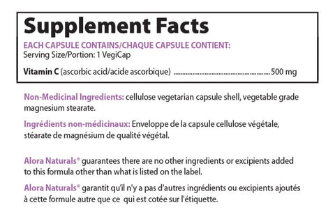 Alora Naturals Vitamin C Nutrition Facts Supplements Canada