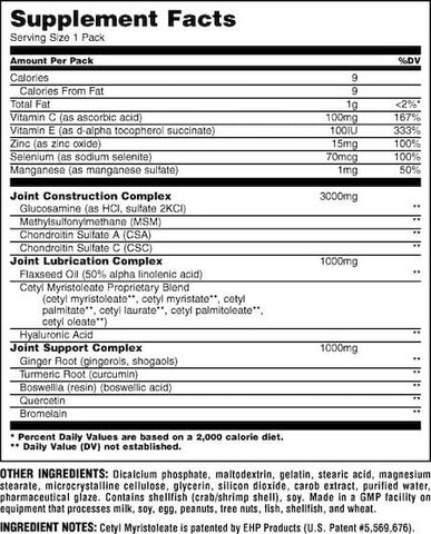 Animal Flex Nutrition Facts at Supplement Superstore Canada