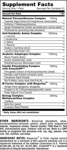 Animal M-Stak Nutrition Facts at Supplement Superstore Canada