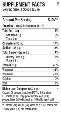ANS Performance Diablo Protein Nutrition Facts at Supplement Superstore Canada