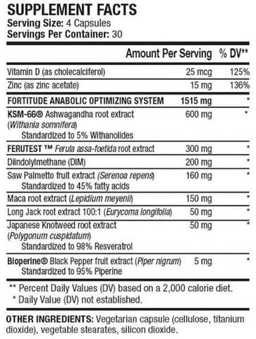 ANS Performance Fortitude Test Booster Nutrition Facts at Supplement Superstore Canada