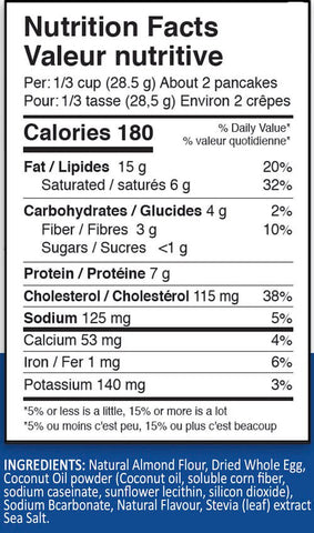 ANS Performance Keto Pancake Mix Nutrition Facts at Supplement Superstore Canada