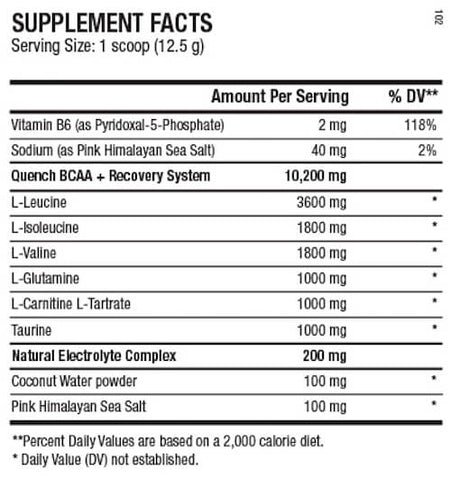 ANS Performance Quench BCAA Nutrition Facts at Supplement Superstore Canada