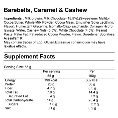 Barebells Protein Bar Supplement Facts
