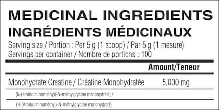 Believe Supplements Micronized Creatine Monohydrate Nutrition Facts at Supplement Superstore Canada