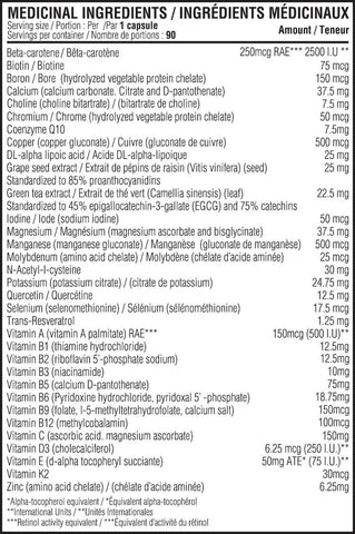 Believe Supplements Vitamin Mineral Balance Nutrition Facts at Supplement Superstore Canada