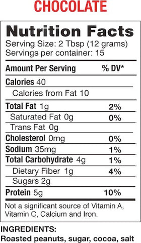 Bell Plantation PB2 Chocolate Nutrition Facts at Supplement Superstore Canada