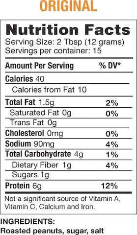 Bell Plantation PB2 Original Nutrition Facts at Supplement Superstore Canada