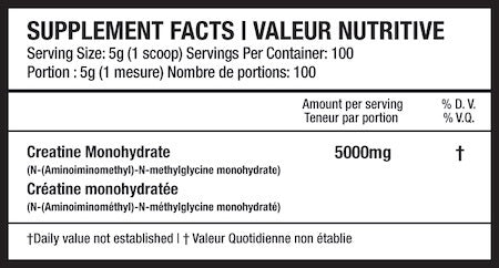 Beyond Yourself Creatine Monohydrate Nutrition Facts at Supplement Superstore Canada