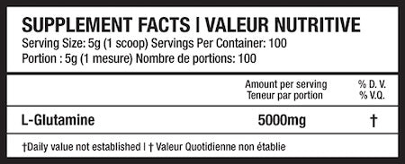Beyond Yourself Glutamine Nutrition Facts at Supplement Superstore Canada