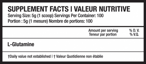 Beyond Yourself Glutamine Nutrition Facts Supplements Canada