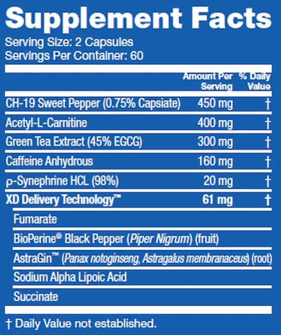 Blue Star Nutraceuticals Blade Nutrition Facts at Supplement Superstore Canada