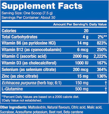 Blue Star Nutraceuticals Immune Factor Nutrition Facts at Supplement Superstore Canada