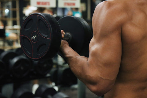 Bicep Curls with Bodybuilding Supplements