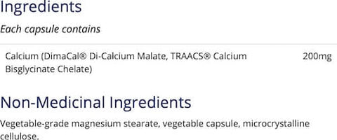 CanPrev Calcium Malate Bis-Glycinate Nutrition Facts at Supplement Superstore Canada