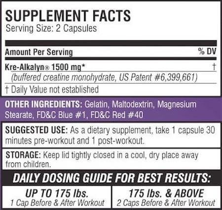 EFX Sports Kre-Alkalyn Creatine Nutrition Facts at Supplement Superstore Canada