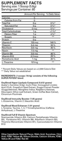 EHP Labs OxyShred Nutrition Facts at Supplement Superstore Canada