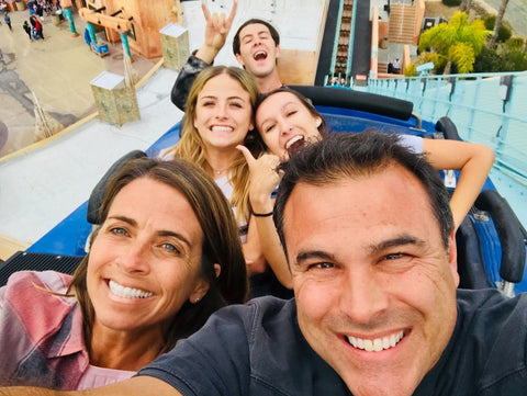 Family selfie while on rollercoaster