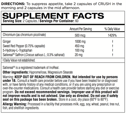 Femme Forme Crush Appetite Suppressant Nutrition Facts