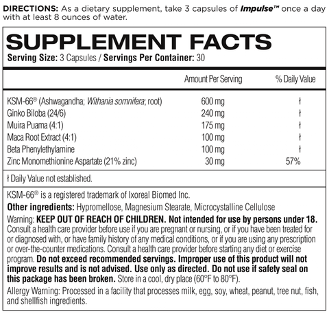 Femme Forme Impulse Female Libido Enhancer Nutrition Facts