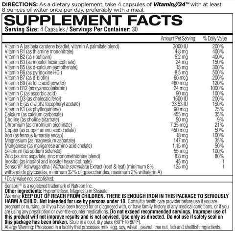Femme Forme Vitamin 24 Womens Multi Vitamin Nutrition Facts
