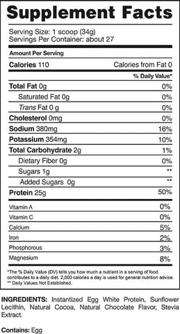 Gaspari Nutrition Proven Egg Protein Nutrition Facts at Supplement Superstore Canada