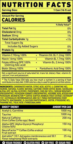 Ghost Energy Drink Nutrition Facts at Supplement Superstore Canada