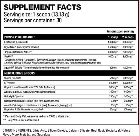 HD Muscle Pre-HD Elite Nutrition Facts at Supplement Superstore Canada