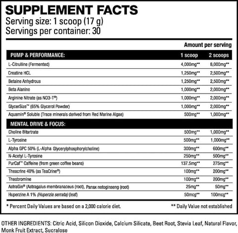 HD Muscle Pre-HD Nutrition Facts at Supplement Superstore Canada