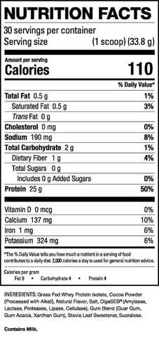 HD Muscle Pro-HD Nutrition Facts at Supplement Superstore Canada