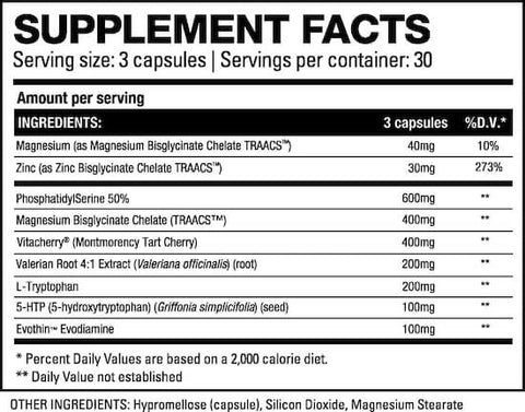 HD Muscle Sleep-HD Nutrition Facts at Supplement Superstore Canada