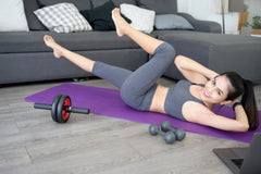 Woman working out at home.