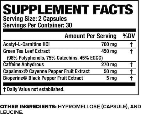 Jacked Factory Burn-XT Nutrition Facts at Supplement Superstore Canada